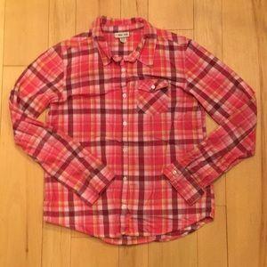 Orange & Pink Plaid Girls Button Up Shirt - XL/14